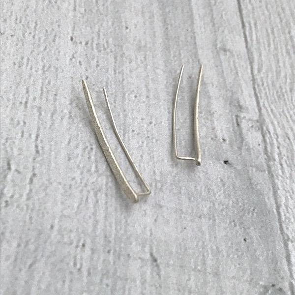 Handmade Diamond Dusted | sterling silver medium ear climber pair