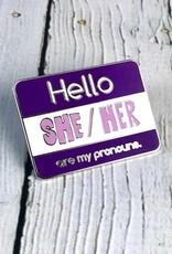 She/Her Enamel Pronoun Pin by Crimson Tate