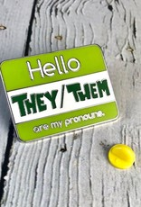 They/Them Enamel Pronoun Pin by Crimson Tate