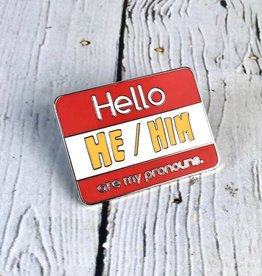 He/Him Enamel Pronoun Pin by Crimson Tate