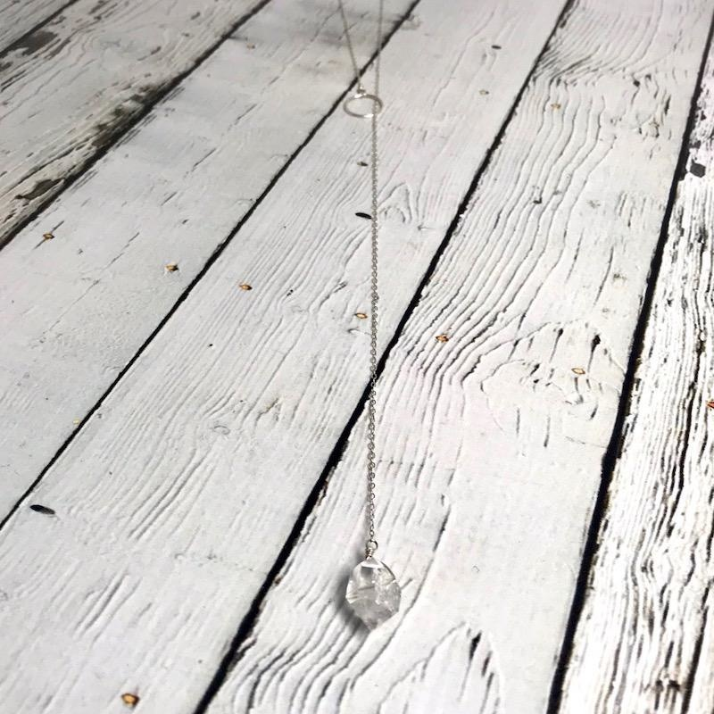 Handmade Silver Lariat Necklace with Herkimer Diamond