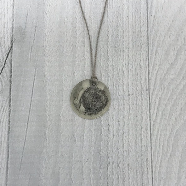 Sterling Litho Hands Holding a Nest Necklace - Emily Schwank Collection