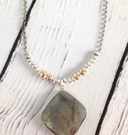 "Handmade Faceted cushion cut labradorite pendant on 21"" sterling bead and chain necklace"