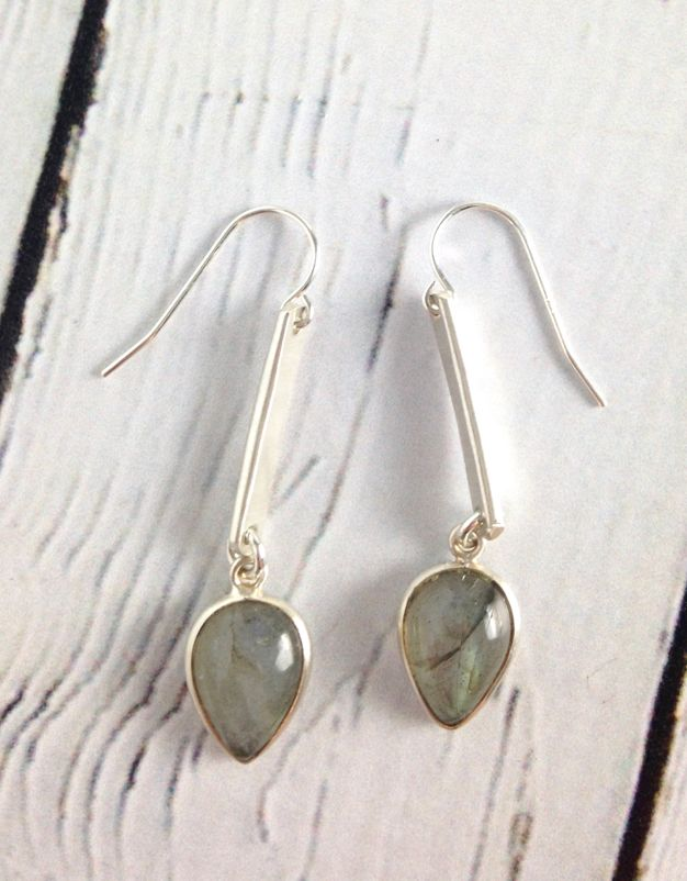 Handmade Labradorite teardrop in sterling bezel and drop earrings