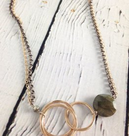 "Handmade Hammered 14kt goldfill interlocking circles with 12mm faceted labradorite coin on 19"" mix metal chain"