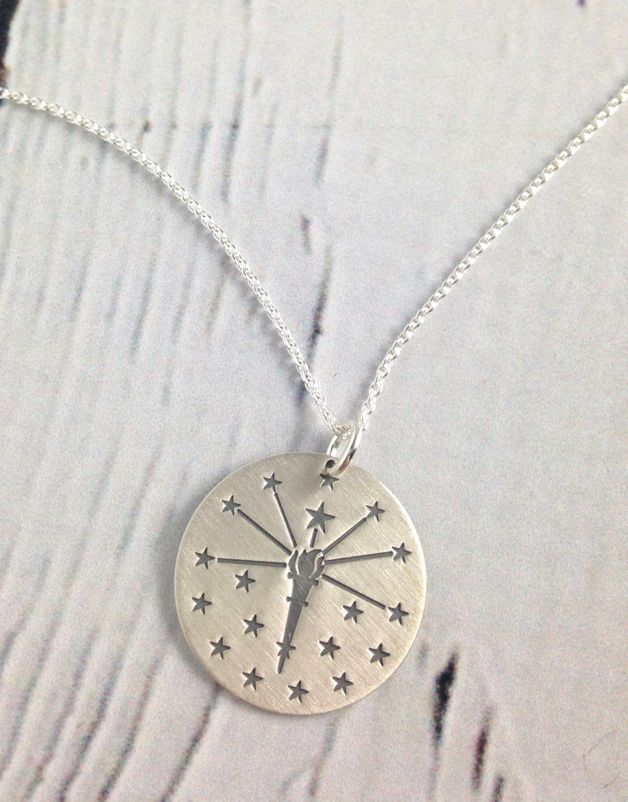 Handstamped Torch and Stars Necklace
