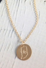 Handstamped Gold Filled Double Heart Indiana