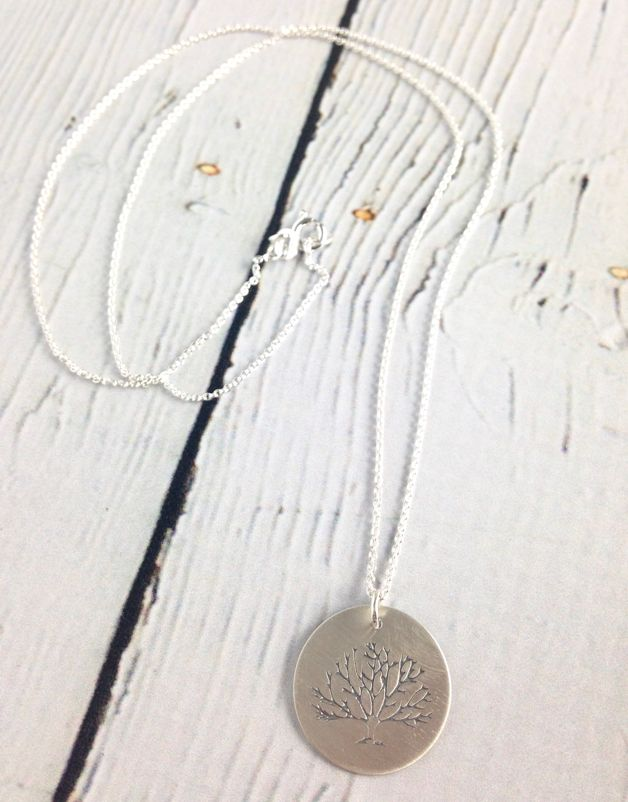 Handstamped Tree Necklace