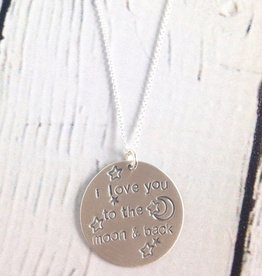 Handstamped Moon and Back Necklace