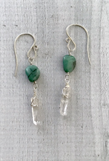 Handmade Silver Earrings with Emerald, Quartz points