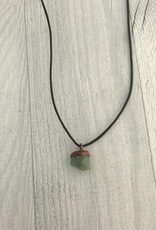 Raw Emerald on adjustable leather necklace - May Birthstone