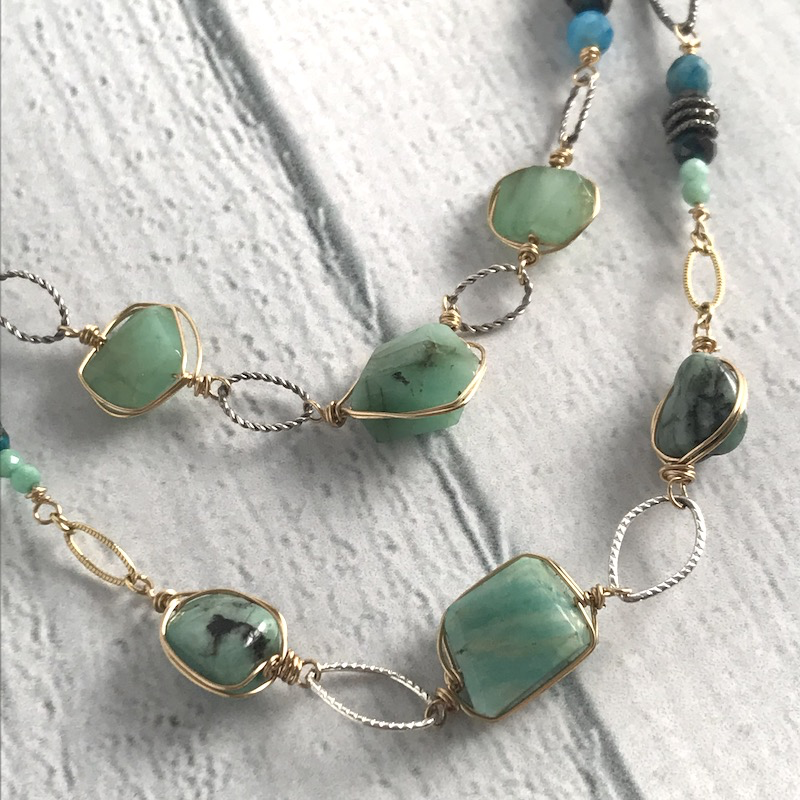 Handmade Silver Necklace with natural emerald, amazonite, apatite, and chrysocolla stones, hand wrapped in gold filled and sterling silver chain.