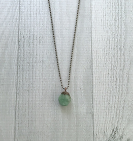 "Raw Emerald Electroformed Pendant on 18"" Sterling Chain Necklace"