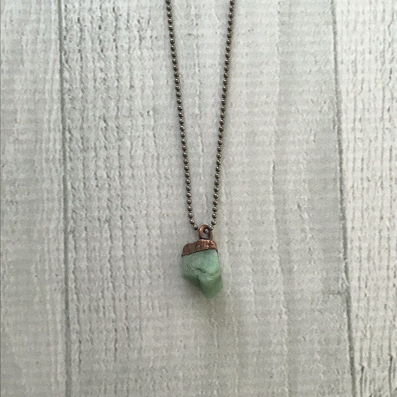 """Raw Emerald Electroformed Pendant on 18"""" Sterling Chain Necklace"""