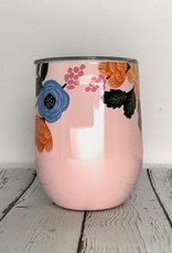 Rifle Paper Lively Floral Blush 12oz Stemless Wine Cup w/Lid