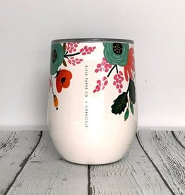 Rifle Paper Lively Floral Cream 12oz Stemless Wine Cup w/Lid