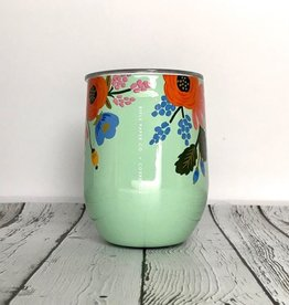 Rifle Paper Lively Floral Mint 12oz Stemless Wine Cup w/Lid
