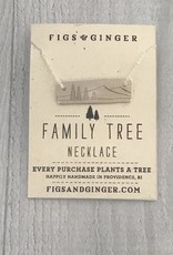 Sterling Silver Family Tree Necklace, Family of 4