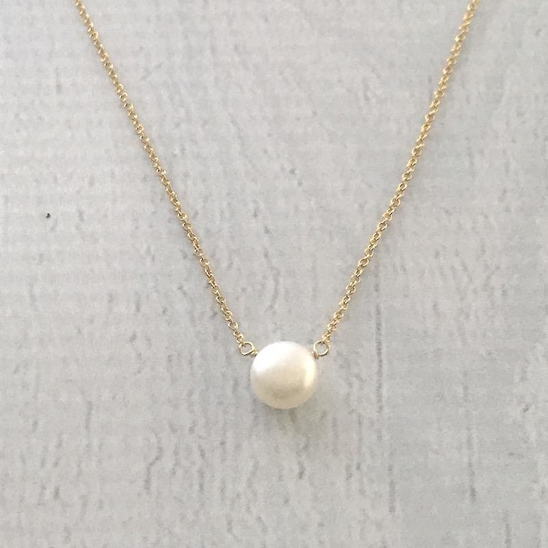 """I Love Mom"" Handmade 14k Goldfill & White Pearl Necklace, 18"""