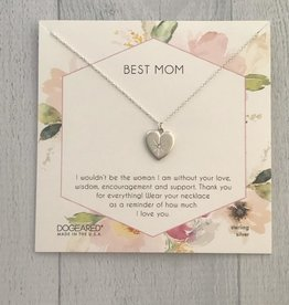 Sterling Silver Best Mom Crystal Heart Necklace, 18 +2""