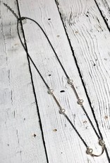 Handmade Sterling Silver Necklace with oxidized chain, 3 thin 14 k g.f. bars, 6 white pearls