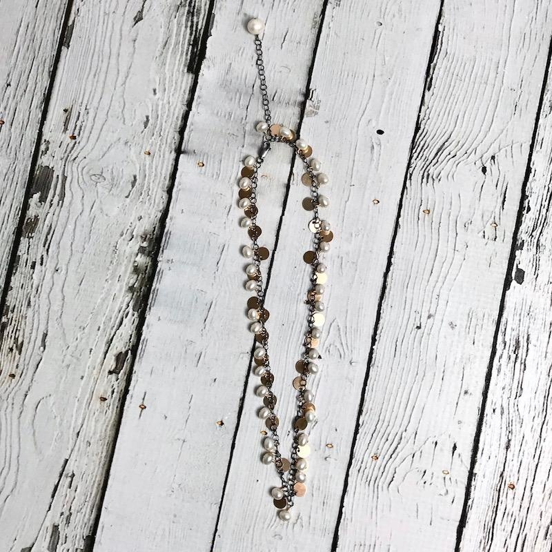 Handmade Sterling Silver Necklace with Oxidized Chain, White Oval Pearls, and 14 k g.f. Paillettes.