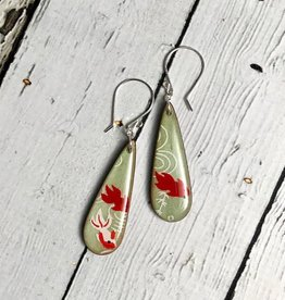 Handmade Pale Green Koi Print Resin & Wood Earrings, SS wiresSustainable Walnut Wood, eco friendly colored resin, non-toxic wax.