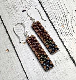 Handmade Rainbow Haze Minimalist Mermaid Earrings, SS wiresSustainable Walnut Wood, eco friendly colored resin, non-toxic wax.