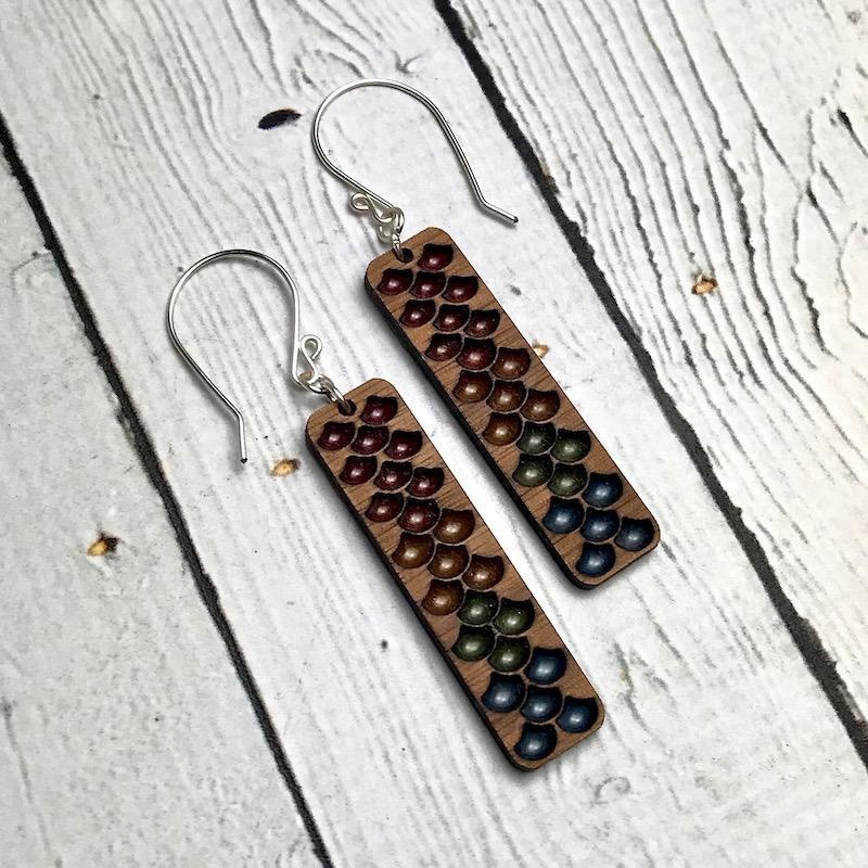 Handmade Rainbow Haze Minimalist Mermaid Earrings, SS wiresSustainable Walnut Wood, eco friendly colored resin, non-toxic wax.