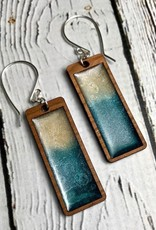 Handmade Ocean Currents Print Resin & Wood Earrings, SS wiresSustainable Walnut Wood, eco friendly colored resin, non-toxic wax.