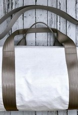 Lieutenant Duffle Bag Made From The Roof Of The RCA Dome with Light Grey Seatbelt Straps