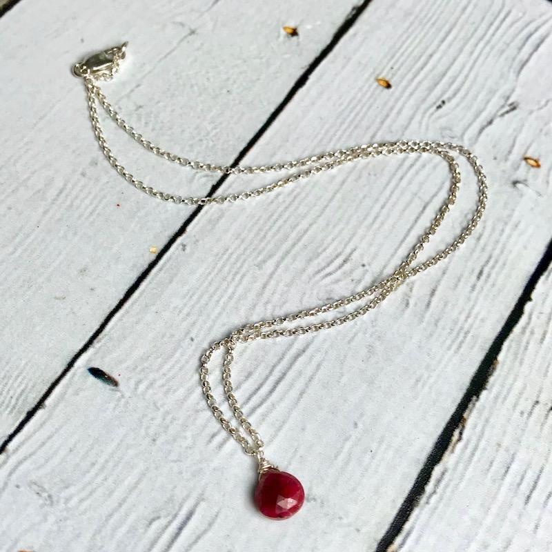 Handmade Silver Necklace with Ruby Briolette