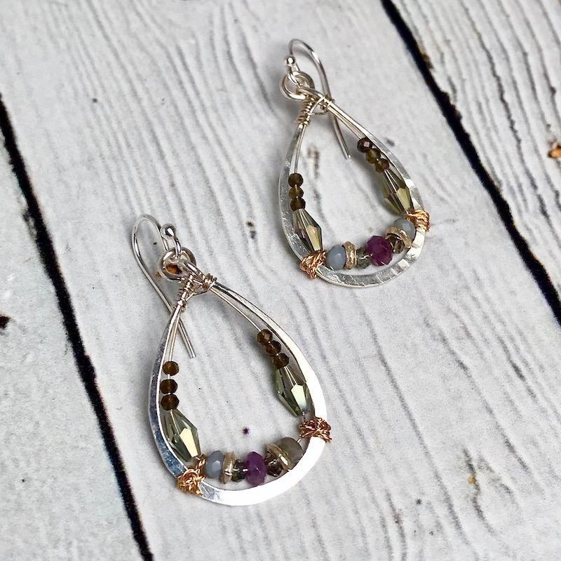 Handmade ruby, crystal, beaded sterling silver hand formed drop earrings.