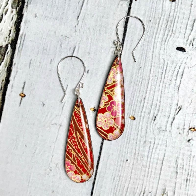 Handmade Red Cherry Blossom Print Resin & Wood Earrings, SS wiresSustainable Walnut Wood, eco friendly colored resin, non-toxic wax.