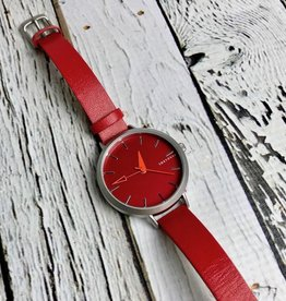 Ara Watch, Red Face with Skinny Red Leather Strap