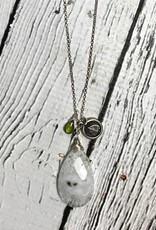 Handmade Silver Necklace with Solar Quartz, Vessuvianite