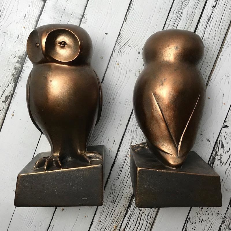 "8-3/4""L x 8-1/2"" H Resin Owl Bookend Bronze Finish"