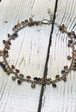 """Handmade Sterling Silver Bracelet with 51 multi sapphire, shiny chain, 7.5"""" with 1"""" extender"""