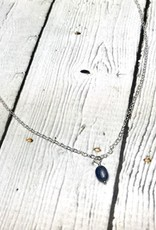 Handmade Silver Necklace with Small Oval Blue Sapphire