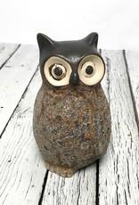 "3-1/4"" Round x 5""H Stoneware Owl Vase, with turned head"