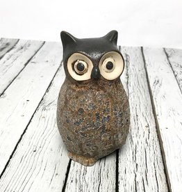"3-1/4"" Round x 5""H Stoneware Owl Vase, with turned head"
