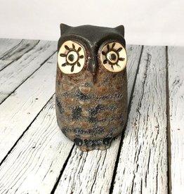 """3-1/4"""" Round x 5""""H Stoneware Owl Vase, with big eyes"""