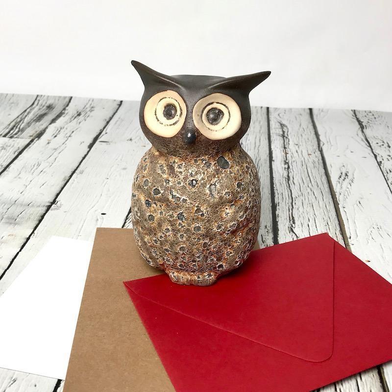 "3-1/4"" Round x 5""H Stoneware Owl Vase, long ears"