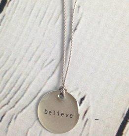 "Believe Mini Type Necklace on 16"" Cord"
