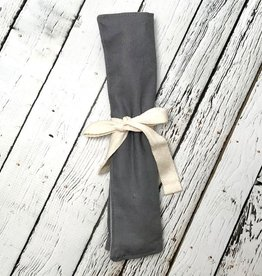Grey Zero Waste Utensil Wrap with Cultery, Straw, and Napkin
