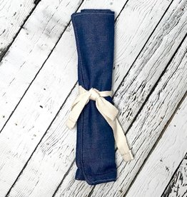 Denim Zero Waste Utensil Wrap with Cutlery, Straw, and Napkin