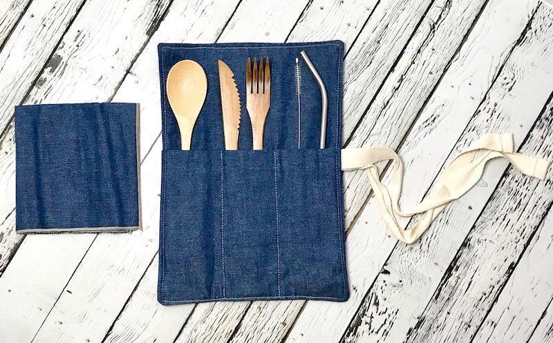 Denim Zero Waste Utensil Wrap with Cutlery, Straw, and Napkin