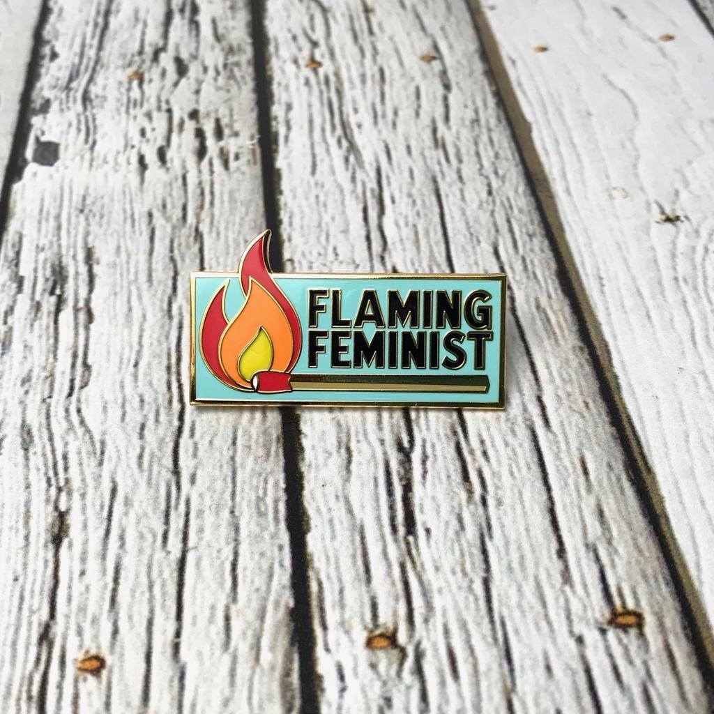 Flaming Feminist Pin