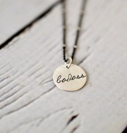 "Handstamped 18"" Silver ""badass"" Charm Necklace"
