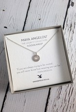 "Handmade Sterling Silver Necklace with Maya Angelou ""Normal Amazing"" Quote"